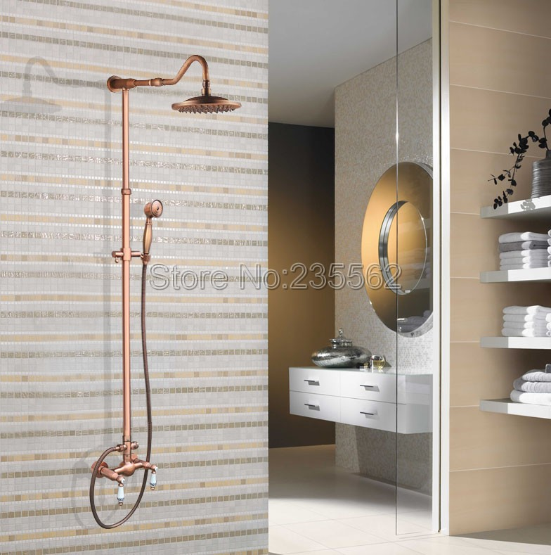 Rainfall Antique Red Copper Bathroom Bathroom Rain Shower Faucet Set Cold and Hot Water Shower Mixer Taps Wall Mounted lrg619 china sanitary ware chrome wall mount thermostatic water tap water saver thermostatic shower faucet