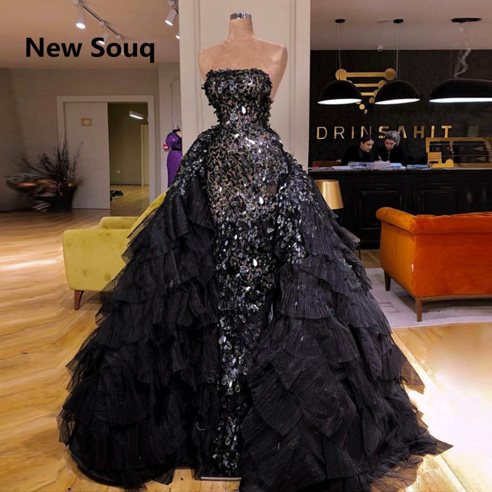 Elegant Black Crystal Evening Dresses With Detachable Skirt Dubai Arabic Long Prom Dress Formal Evening Party Gowns