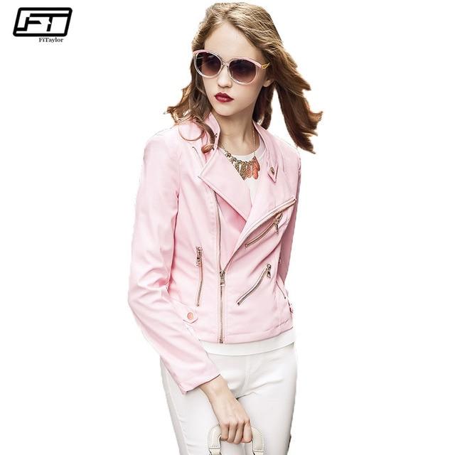 Fitaylor Fashion Spring Autumn 2017 Long Sleeve Pink Pu Biker Faux ...