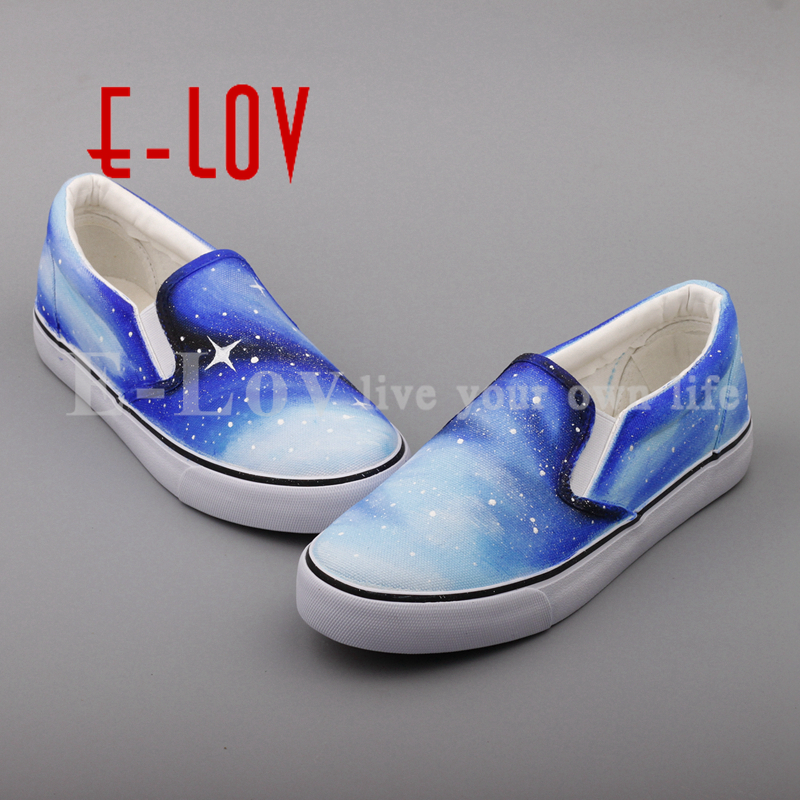 E-LOV Custom Hand Painted Casual Loafers Brand Slip On Shoes for Women DIY Graffiti Dream Stars Starry Sky Loafer Shoes e lov women casual walking shoes graffiti aries horoscope canvas shoe low top flat oxford shoes for couples lovers