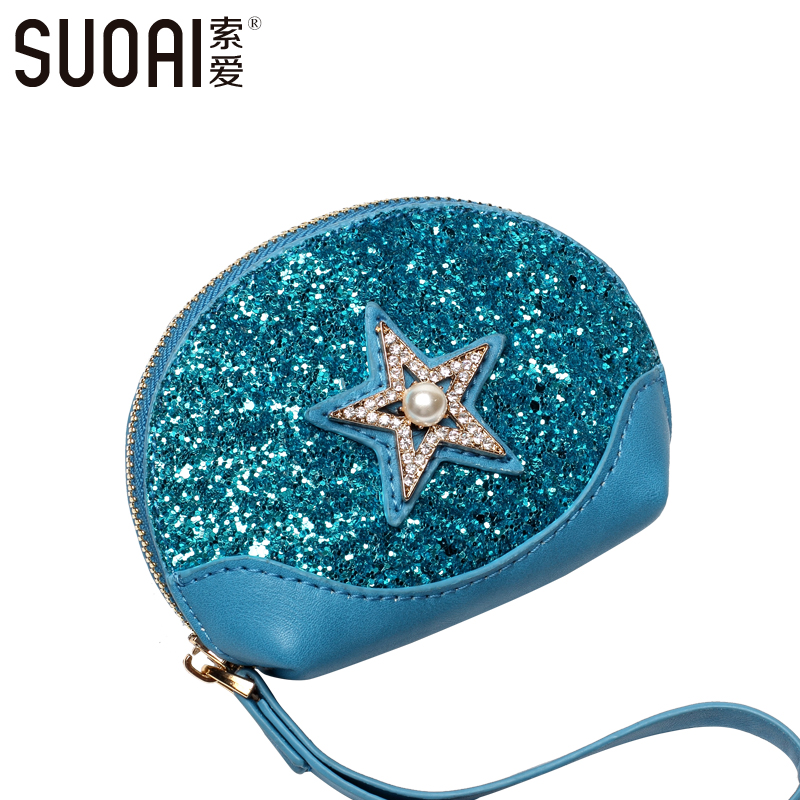 SUOAI Coin Purses 2017 New Women Fashion Mini Key Purse Fashion Coin Bags For Girls Keys Bag