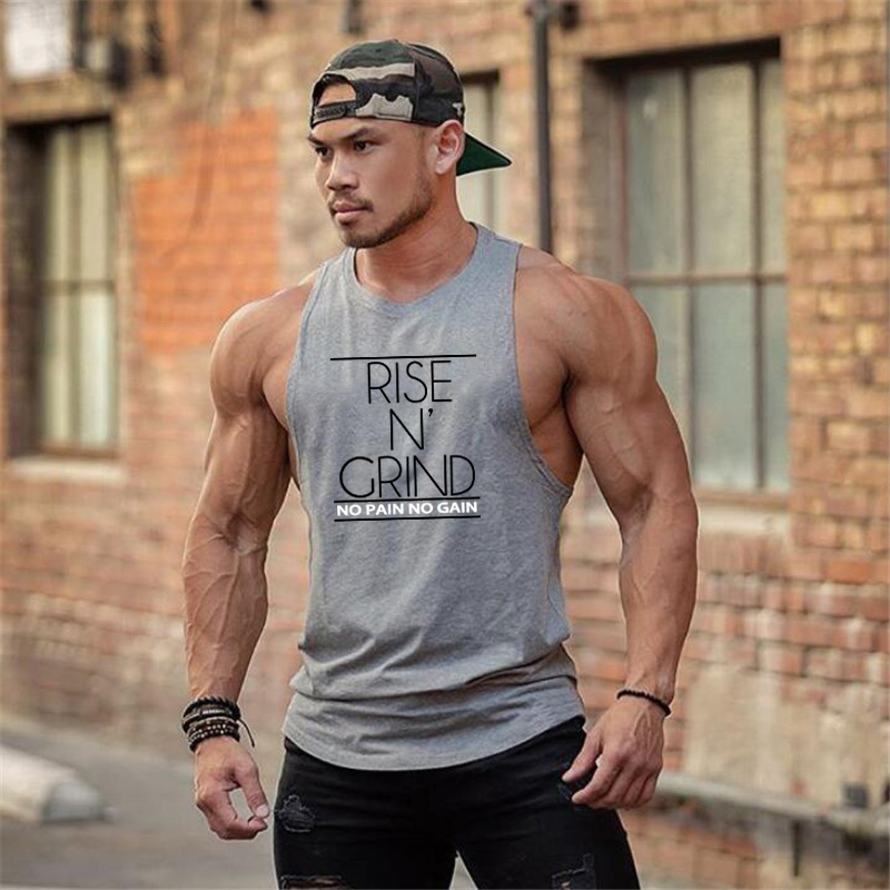 New Brand Summer Gyms Clothing Bodybuilding   Tank     Top   Men Fitness Singlet Sleeveless Shirt Cotton muscle Vest for man