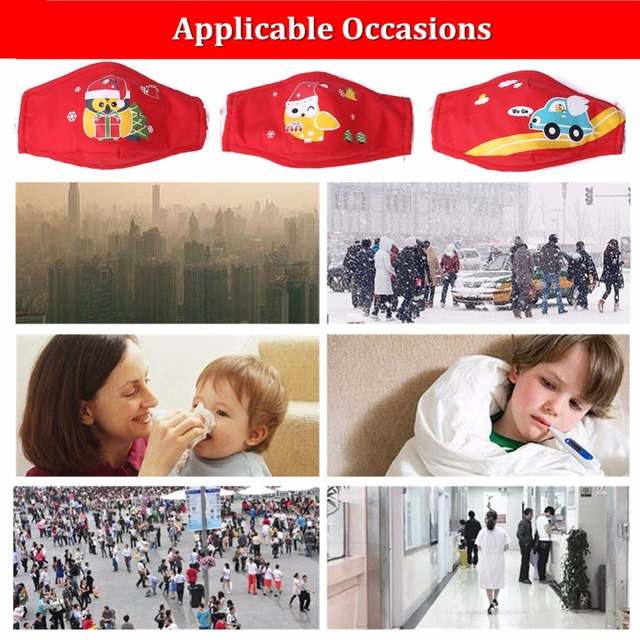 ZWZCYZ Christmas Kids Masks Cartoon Masks Dust Cotton Mouth Mask Washable PM 2.5 Kids Anti Pollution with Mask N95 Filters 3 Pcs