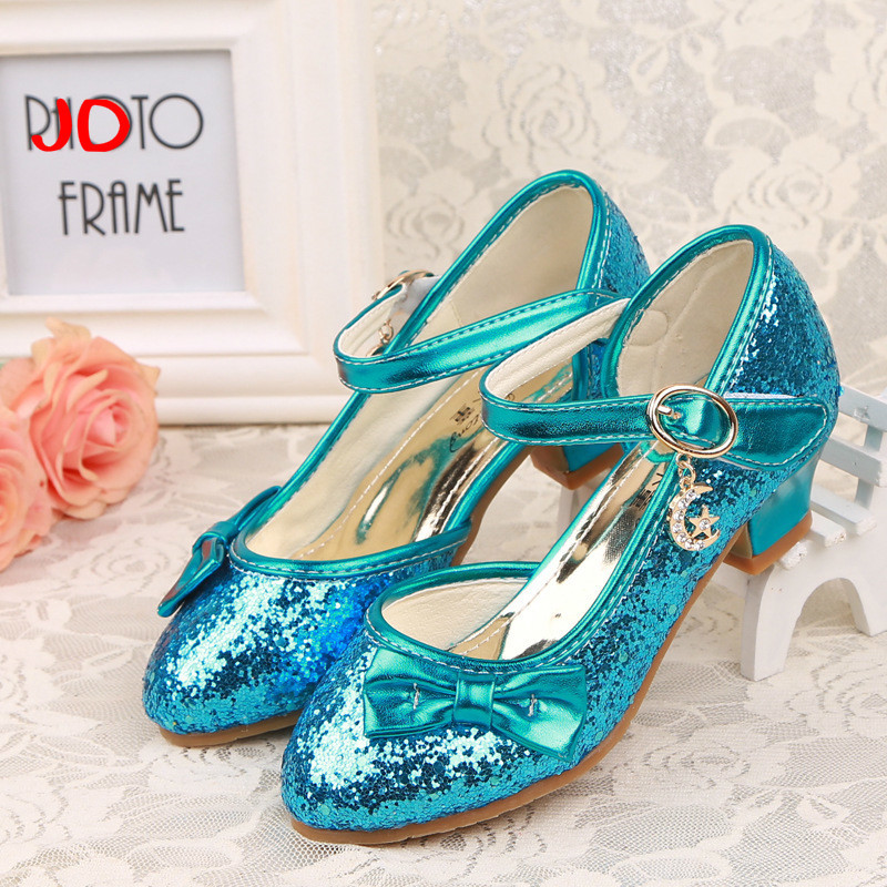 New Paillette Flower Childrens High Heel Shoes Princess Children Single Girl Dance Shoe Show Shoe Fashion Girls