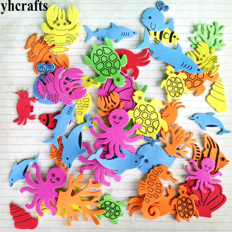 1bag/LOT.Ocean animals foam stickers.15 design choose.Scrapbooking kit Early educational toy kindergarten crafts Activity OEM