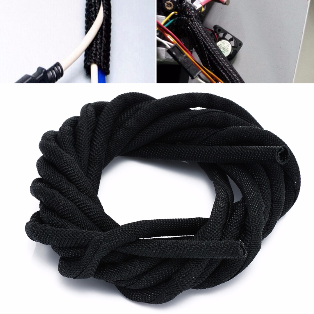 1pc Mayitr Black Wrap Braided Cable Sleeve Wear Resistant General ...