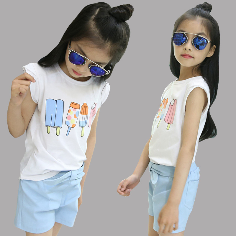 Kids Outfits for Girls Summer Clothes Sets for Children Clothing Sets Girls Ice Cream Cartoon Tops & Shorts Suits for 9 12 Years