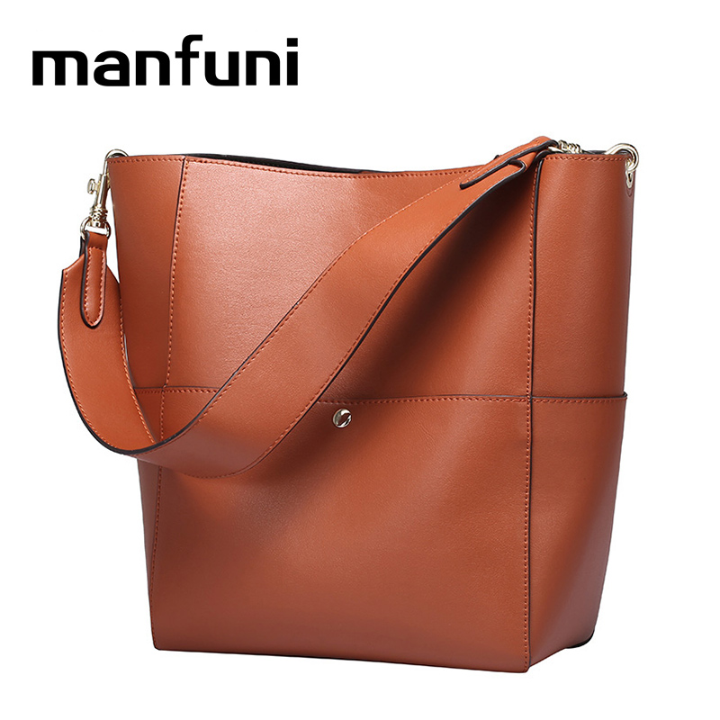 MANFUNI Genuine Leather handbags women casual tote Shoulder Bags vintage bag bolsas Female messenger bags white black green 0755