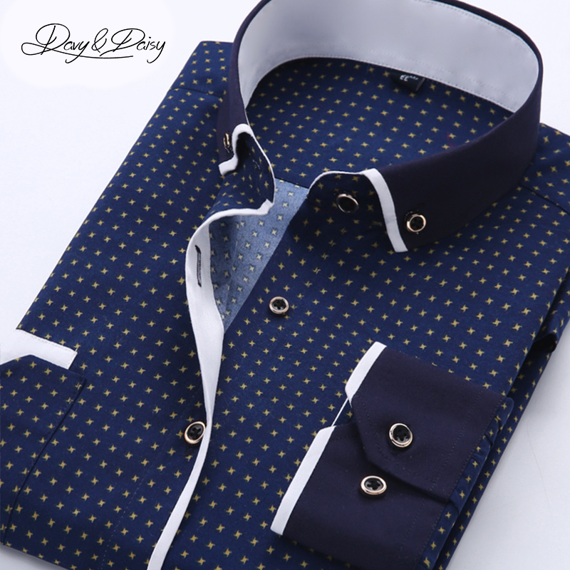DAVYDAISY Long Sleeved Printing Casual Shirt Men Dress