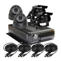 Free Shipping 4 Channel Car Rear View CCTV Car Camera Vehicle Mobile DVR System H.264 Audio Video Recorder Car DVR I/O G sensor