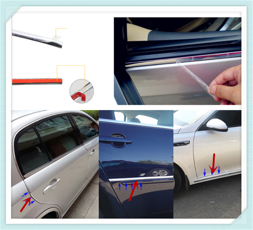 Car shape <font><b>chrome</b></font> decorative bright strip silver multi-function sticker for <font><b>Audi</b></font> I Ah Ah <font><b>A8</b></font> A3 A4 A6 A5 Q7 R A3 3-Door image