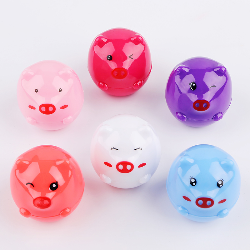 Cute Lip Balm Ball Women Lip Makeup Tint Natural Plant Nutritious Long Lasting 6 Colors Cosmetic Piggy Shaped Fruits Smell image
