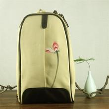 Женщины старинные свободного покроя китайский этническом стиле холст рюкзак ручная фотопечать лотоса регулируемыми лямками сумка карман на молнии