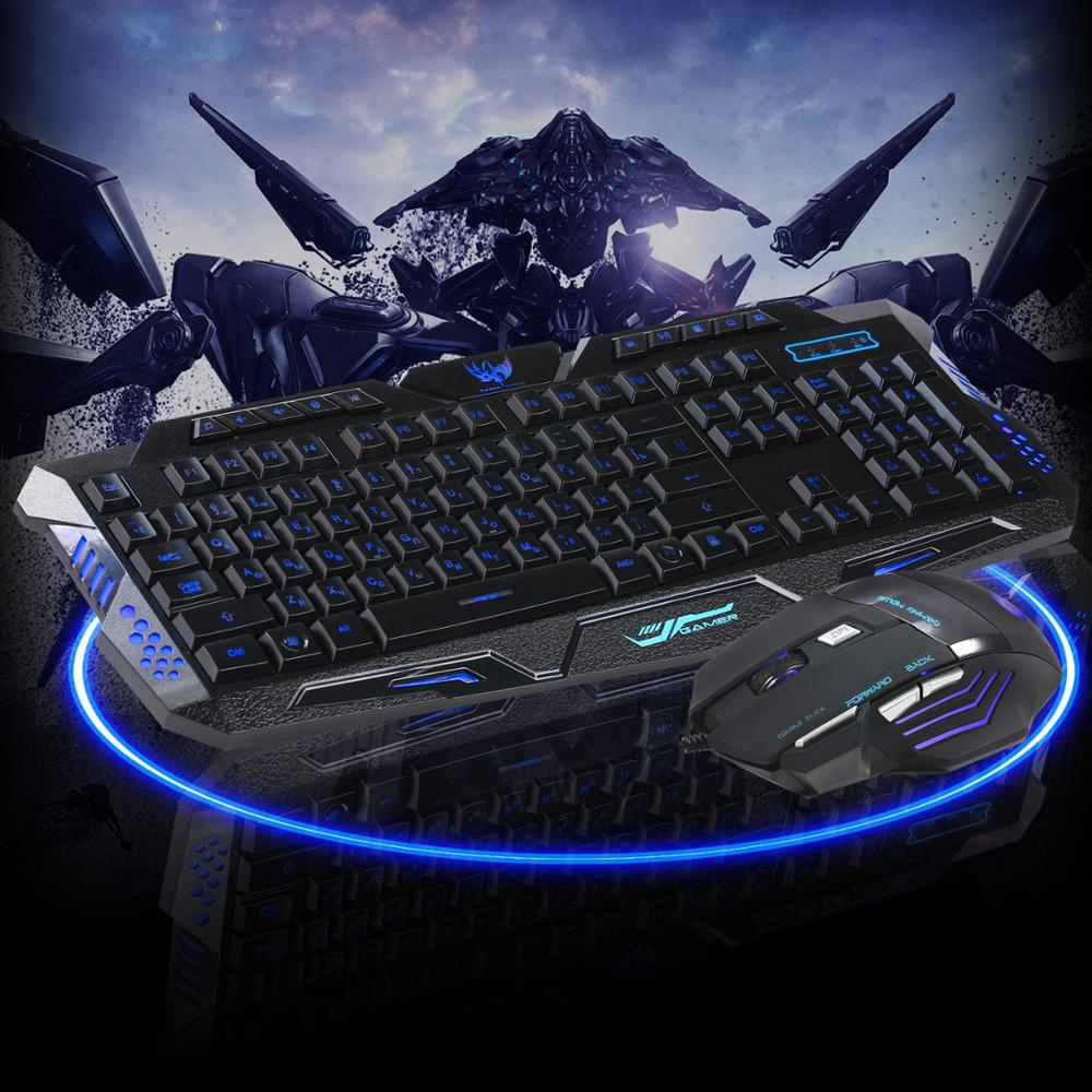 J30 Russian English Gaming Keyboard Mouse Combos Backlit LED 104 Key Wired Keyboard Mouse Set For Gaming Gamer in Keyboard Mouse Combos from Computer Office