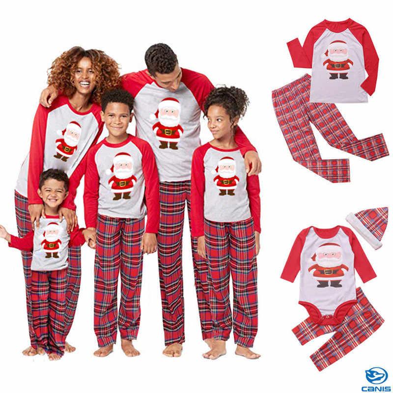 2019 ครอบครัวคริสต์มาสชุดนอน PJs ชุดเด็กผู้ใหญ่ Xmas ชุดนอนชุดนอนเสื้อผ้า casual Santa เสื้อผ้าชุด
