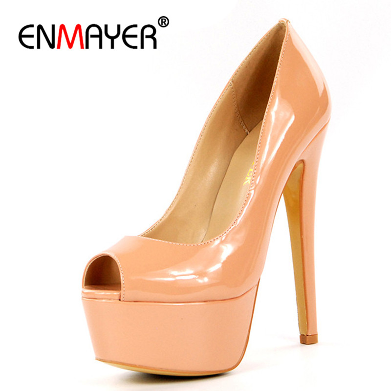 ENMAYER Chaussures Femme Shoes Woman High Heels Platform Shoes Summer Pumps Peep Toe Plus Size 35-46 Office Lady Shoe Pumps cdts 35 45 46 summer zapatos mujer peep toe sandals 15cm thin high heels flowers crystal platform sexy woman shoes wedding pumps
