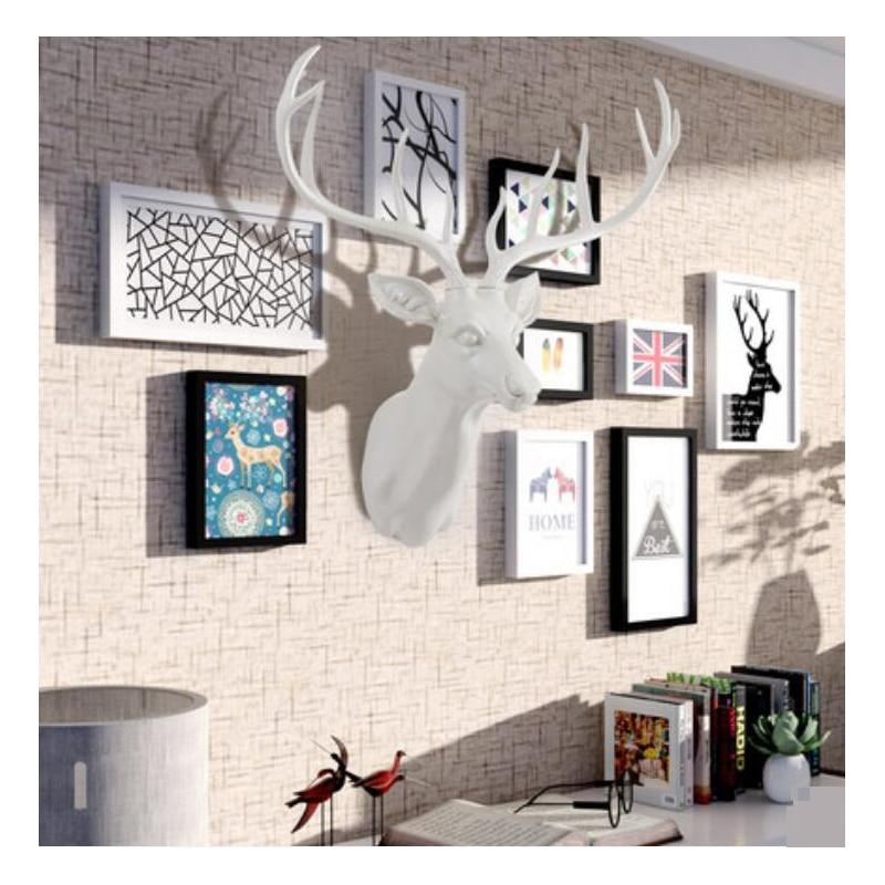 2018 Vintage European Style Deer Head Wall Hanging Statue Aanimal Figurine Sculpture For Home Decorations Attic
