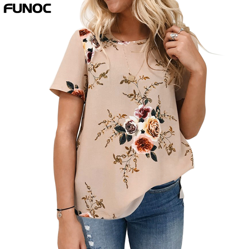 Funoc flor imprimir blusa mujeres tops o-cuello blusas feminina blusas 2017 vera