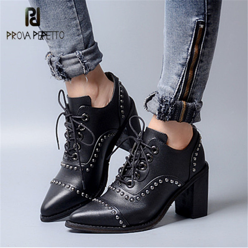 цена на Prova Perfetto Sexy Pointed Toe Rivets Studded Women High Heel Boots Genuine Leather Lace Up Shallow Ankle Boots Women Pumps