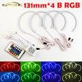 4x131mm B RGB LED Angel Eyes Faros Control Remoto Multi-color con Anillo Del Halo para BMW E36 E39 E46 E60 E92