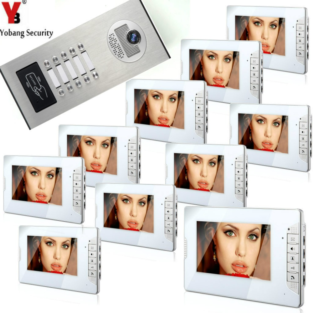 YobangSecurity 10 Units Apartment Wired 7Inch Video Door Phone Video Door Entry Intercom System Doorbell RFID Access IR Camera smartyiba 2 units apartment wired 4 3 monitor rfid video intercom doorbell door phone audio visual intercom entry access system