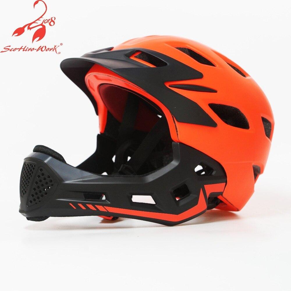 Pro protection kids bike helmet 2019 children full face cycling helmet sport mountain road bicycle BMX