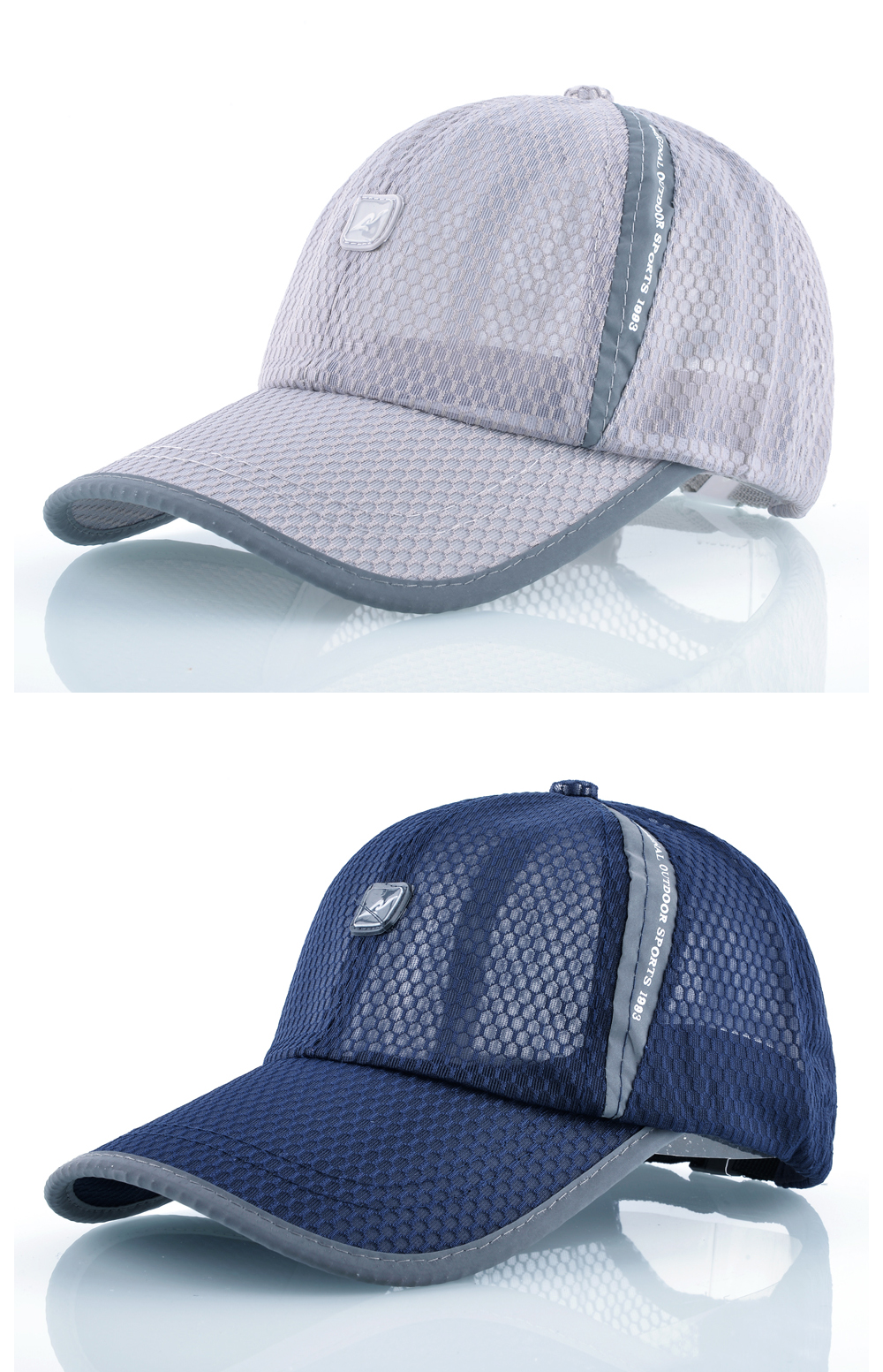 Open Mesh Breathable Baseball Cap - Gray Cap and Blue Cap Front Angle Detail Views