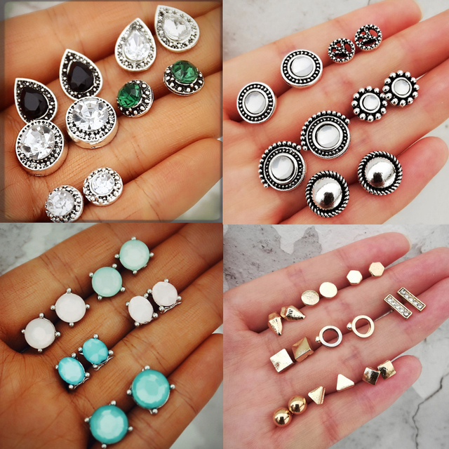 Geometric Stud Earring Sets for Women