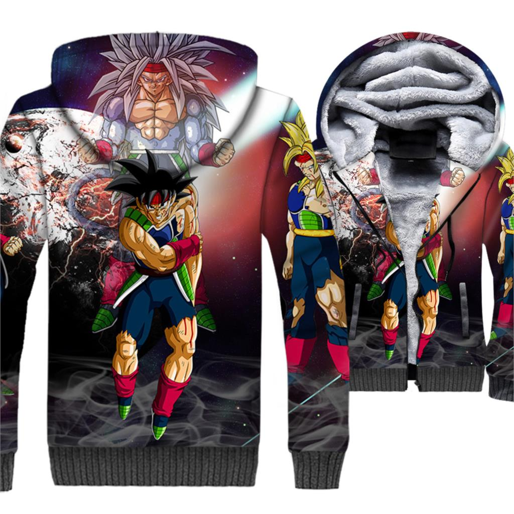 Japanese Streetwear Man Anime Fleece Warm 3D Dragon Ball Hoodies Jacket Male Hooded Hip Hop Tracksuit New Arrival Outwear Coats