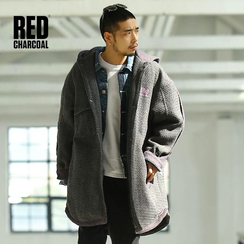 Red Charcoal 2017 Original Popular Logo Vintage Street Hoodies Overcoat Pure Handmade Knit pure diy logo