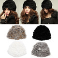 Fashion Russian Lady Rabbit Fur Knitted Cap Women Winter Warm Beanie Hat