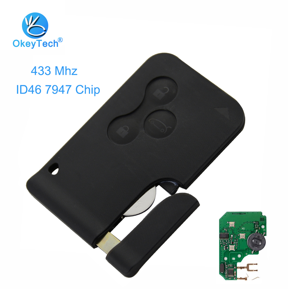 OkeyTech 2pcs/lot 3 Button & Emergency Insert Blade Remote Smart Card Key 433mhz ID46 PCF7947 Chip for Renault Megane Scenic II