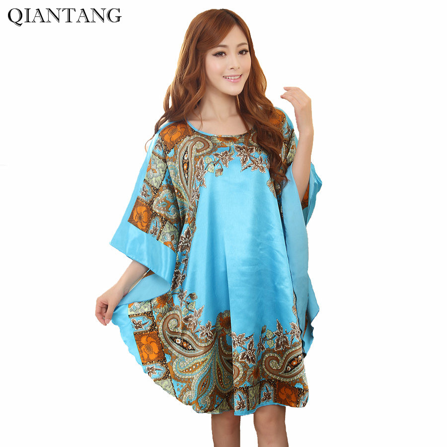 New Arrival Chinese Women's Faux Silk Robe Bath Gown Summer Yukata Nightgown Nuisette Pijama Mujer One Size Sws554S