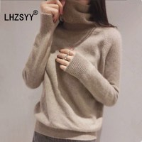 LHZSYY New High Collar Cashmere Sweater Women Short Autumn Winter Sweaters Warm Soft Loose High Quality
