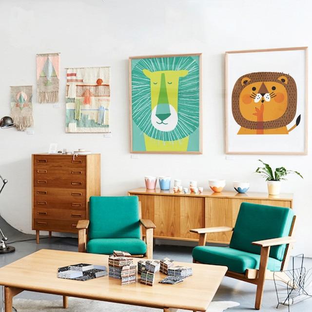 US $4.32 |Modernen Minimalistischen Nordic Kawaii Tiere Tragen Löwen Katze  Kunstdrucke Poster Kinderzimmer Wohnkultur Wand Bild Leinwand Malerei SZ872  ...