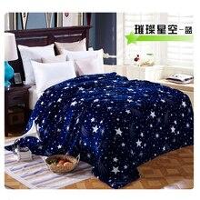 Яркий Звездное покрывало одеяло 200×230 см 4 размера высокой плотности супер мягкие фланелевые одеяло для диван/кровать/автомобиль портативный пледы применение