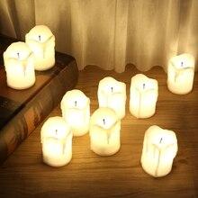 Пластиковый светодиодный светильник-свеча с питанием от батареи, без пламени, чайный светильник, праздничный свадебный Декор