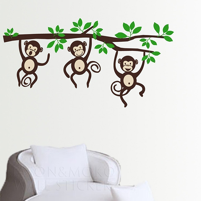 Three Little Monkeys on a Branch wall decal LARGE for home mural wallpaper wall decals 80*145CM Free shipping
