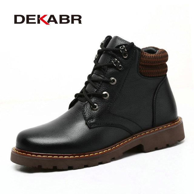 DEKABR Luxuoso Dos Homens De Couro Genuíno Ankle Boots Homens Outono Homens Neve Botas de Pele de Inverno Quente E Confortável Além de Grande Tamanho 45