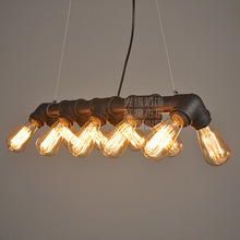 American industrial loft Water pipe Steampunk Vintage pendant lights for dining room Bar rust/black home decoration pendant lamp