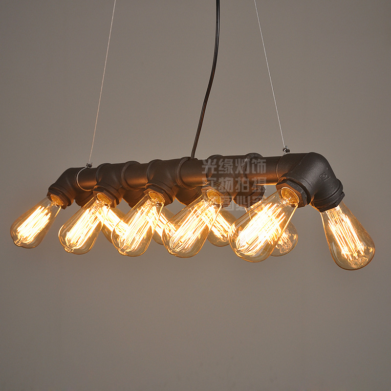 Americká průmyslová podkroví Vodní dýmka Steampunk Vintage přívěsková světla do jídelny Bar rez / černá domácí dekorace přívěsek lampa