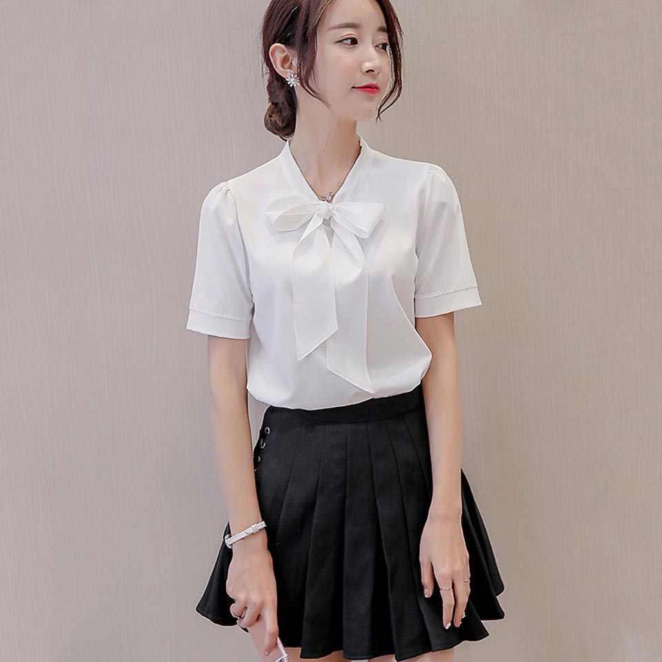 8b1e7951a53 Весна лето женская шифоновая рубашка 2019 новая Корейская рубашка блузка с  коротким рукавом бант белый шифон