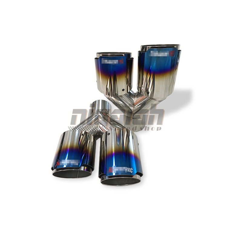 Burnt Blue OUT 304 Stainless Exhaust Pipes Muffler Tips Universal Truck Exhaust Tip IN 2 5