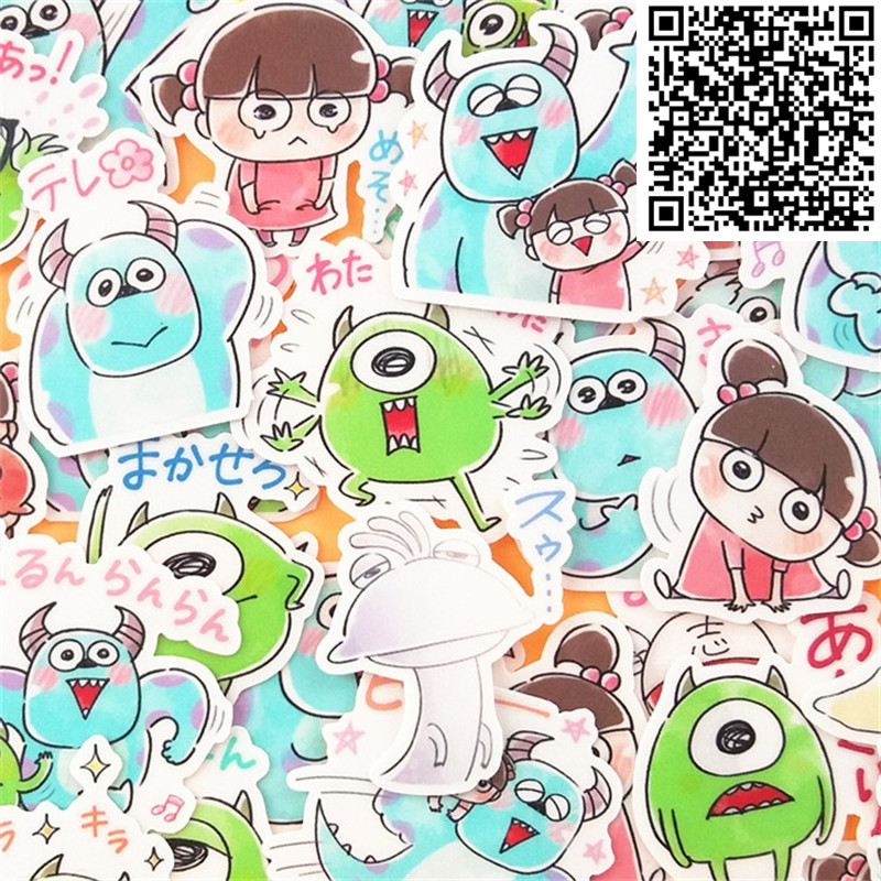 40 Pcs Hand-drawn Little Monsters And Girls Sticker For Skateboard Luggage  Phone Styling Home Toy Cartoon Waterproof Stickers