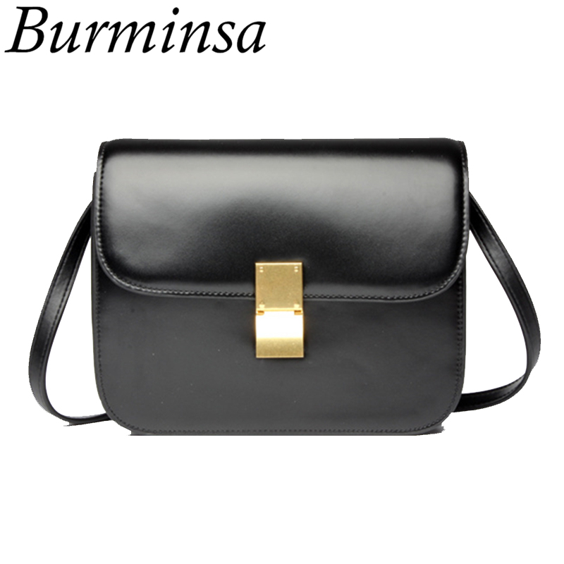 цена Burminsa Summer Lock Genuine Leather Bags Women Messenger Bags Designer Handbags High Quality Ladies Beach Crossbody Bags 2018