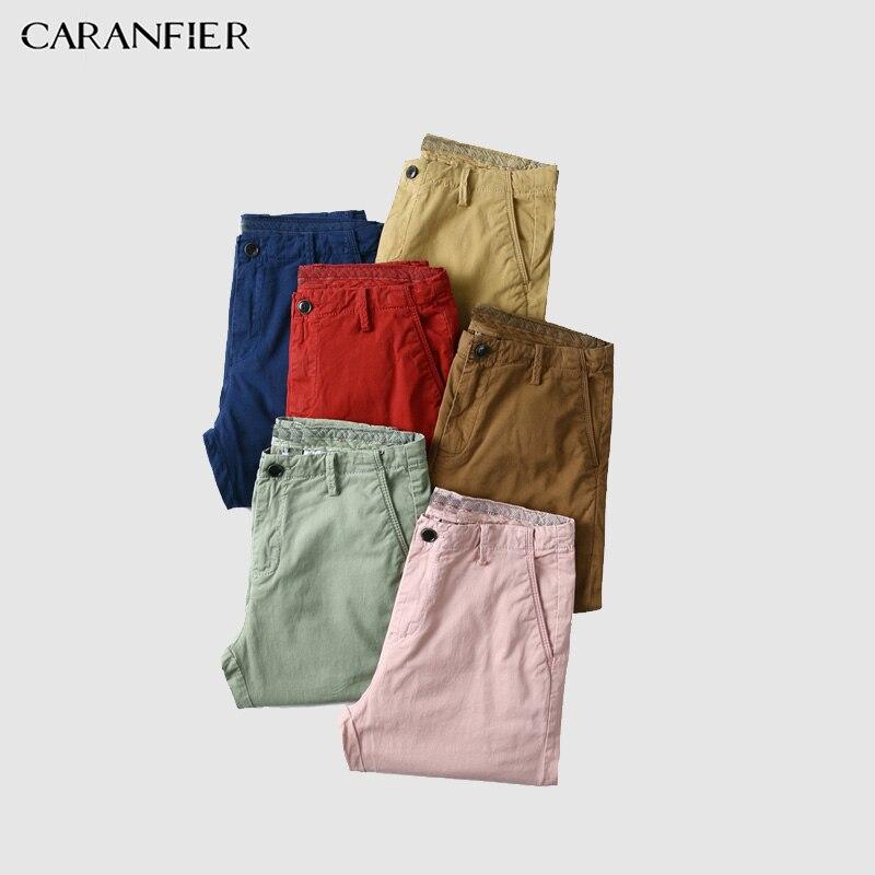 CARANFIER 2018 Summer New Shorts Men 98% Cotton Thin Breathable Knee Length Slim Fit Plus Size Brand Clothing Short Pants Men