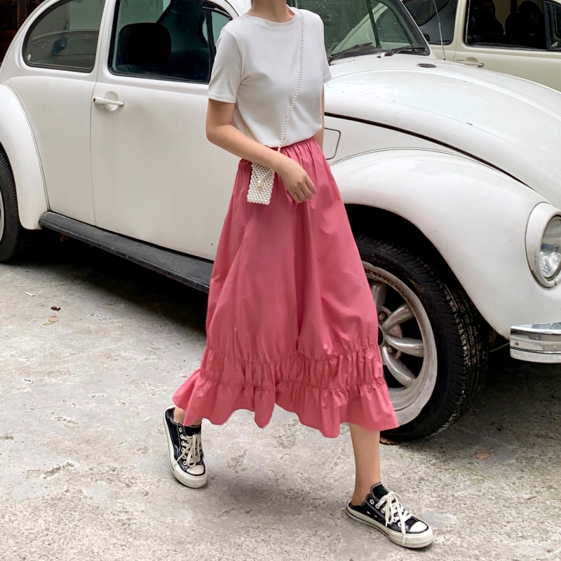YICIYA Korean Harajuku Vintage Style Women Elastic Waist High Pink Ruffle Skirts White Long Tutu Skirt
