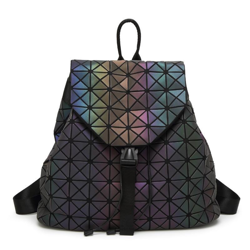2017 fashion women backpack geometric bag school bags for teenagers girls big luminous bag back pack fashionable girls
