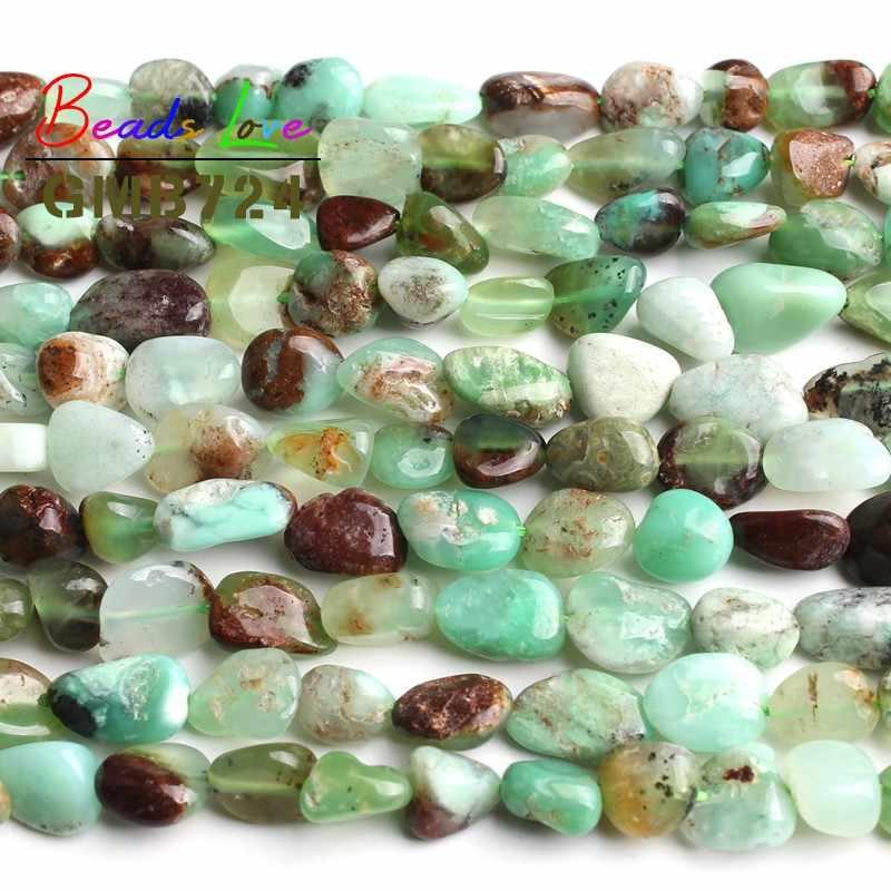 8-10 มม. ธรรมชาติไม่สม่ำเสมอ Chrysoprase ออสเตรเลีย Jades หินหลวม Spacer ลูกปัดสำหรับเครื่องประดับ Diy สร้อยข้อมือสร้อยคอ 15 นิ้ว