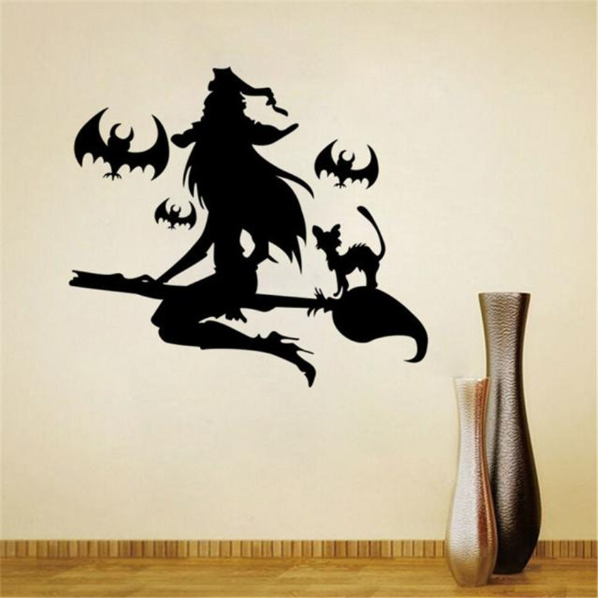 Wallpaper Sticker Happy Halloween Wall Sticker Window Home Decal Decor Stencil wall designs Wallpapers For Living Room B#